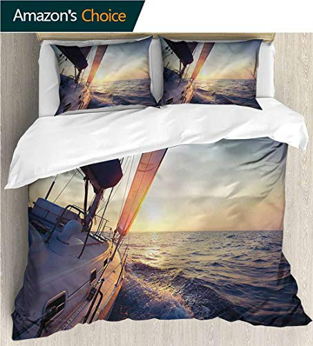 3 Pcs King Size Comforter Set,Box Stitched,Soft,Breathable,Hypoallergenic,Fade Resistant Decorative 3 Piece Bedding Set With 2 Pillow Sham-Sailboat Nautical Ship On Open Sea (79