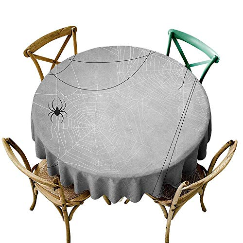 Pink Tablecloth 70 inch Spider Web,Spiders Hanging from Webs Halloween Inspired Design Dangerous Cartoon Icon, Grey Black White 100% Polyester Spillproof Tablecloths]()