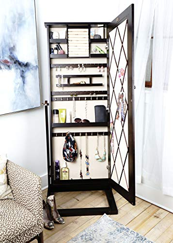 - Alveare Home 8008-694 Addison Standing Mirror with Jewelry Storage, Walnut