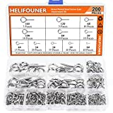 HELIFOUNER 200 Pieces 11 Sizes Nickel Plated Steel