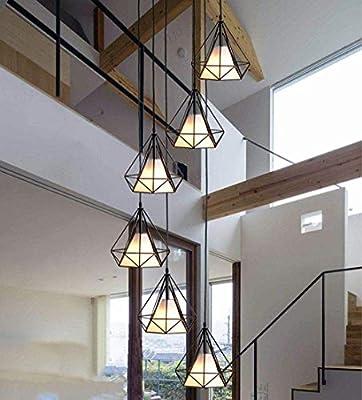 Beautiful Home Decoration Lamps Escalera de caracol retro pendiente de la lámpara de la lámpara Negro de metal y pantalla de la tela lámparas colgantes de luz 6 * E27 Altura-ajustable Dekor