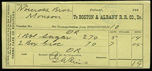 Discount Boston & Albany Voucher for Transportation Goods Palmer 1887