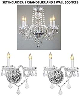 3pc Lighting Set - Crystal Chandelier and 2 Wall Sconces  sc 1 st  Amazon.com & Swarovski Crystal Trimmed Chandelier! Murano Venetian Style All ...