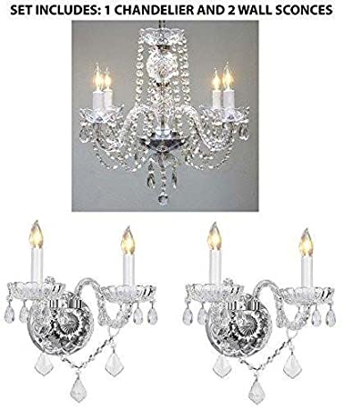 3pc lighting set crystal chandelier and 2 wall sconces amazon 3pc lighting set crystal chandelier and 2 wall sconces aloadofball Image collections