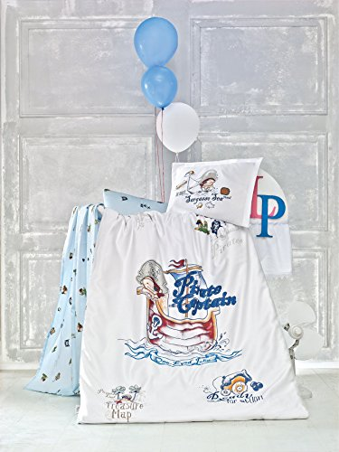 5 Pieces 100% Cotton Baby Boys Nautical Bedding Set, Baby Duvet Cover Set, Baby Comforter Included, Pirate Captain Themed Crib Bedding Set, Blue White from Bekata