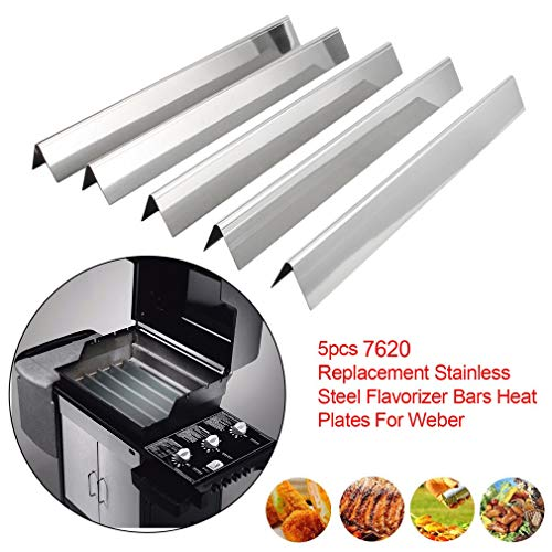 BBQ Gas Grill Heat Plate Stainless Steel Heat Shield 5 Pack Replacement Heat Shield Plate,18''x 3'' x 3'' ()