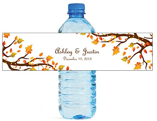 100 Autumn Trees Wedding Anniversary Engagement Party Water Bottle labels Bridal Shower Birthday]()