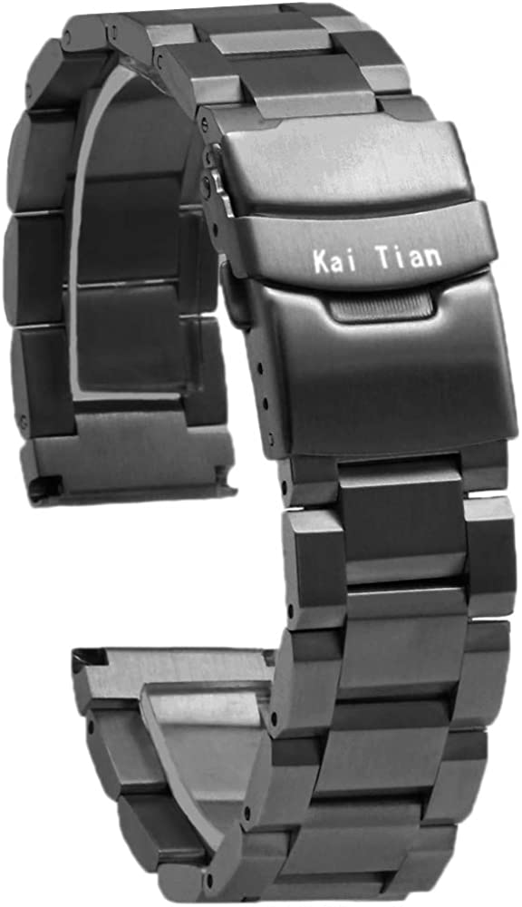 Kai Tian Stainless Steel Watch Band Brushed Finish Metal Watch Strap 18mm/20mm/22mm/24mm Double Buckle Bracelet Black,Silver & Rose Gold