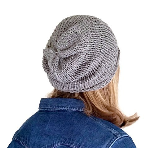 145b050660a Mens Handmade Light Grey Alpaca and Silk Slouchy Beanie Hat  Amazon ...