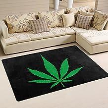 WOZO Green Marijuana Leaf Black Artwork Area Rug Rugs Non-Slip Floor Mat Doormats for Living Room Bedroom 60 x 39 inches