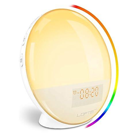 LOFTER Despertador Luz Wifi Wake Up Light LED Despertador Amanecer Natural Lampara Inteligente Compatible con Alexa Echo y Google Home, Doble ...