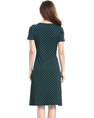 Moollyfox Mujer Vestido Estilo Jersey Corto Manga V-cuello Plisado Vestido de Corte Imperio Verde Punto