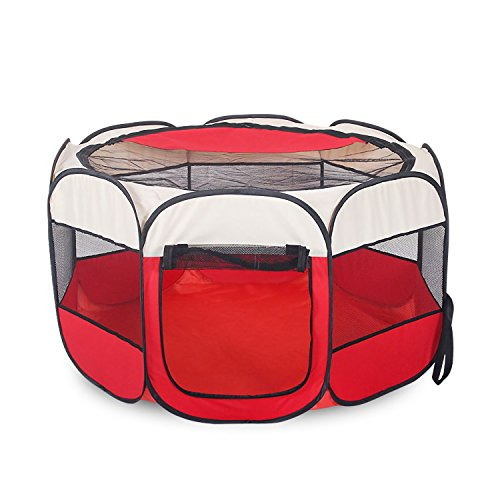 AikoPets Pet Tent Portable Folding Dog Cat House Bed Tent Waterproof Indoor/Outdoor Dog/Cat/Puppy Exercise pet Kennel Cat Tent Teepee (Small, Red-Beige) Review