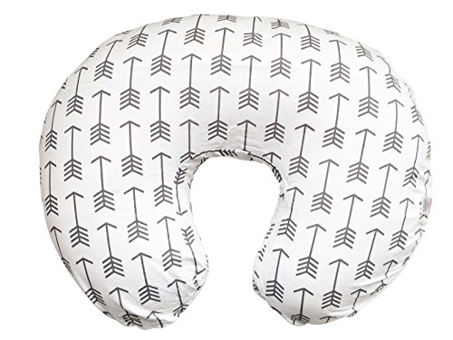 Maternity Breastfeeding Pillow Cover by Danha-Newborn Baby Feeding Cushion Case-Cute Donut Shape Wedge Pillow-Best Infant Support-for New Moms-White Arrow Prints Slipcover by Danha