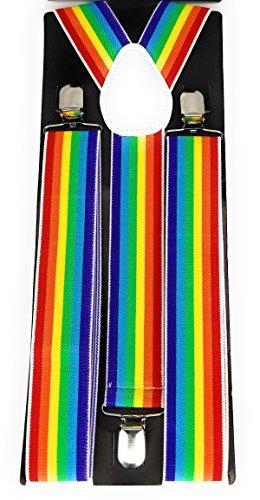 (Wide Rainbow Stripe Print Elastic Y Back Suspenders, White Faux Leather, Metal)