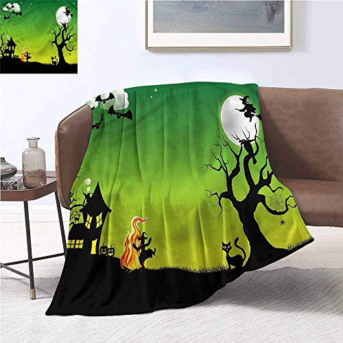 DILITECK Microfiber All Season Blanket Halloween Dancing Witch Fall Winter Spring Living Room W54 xL84 Traveling,Hiking,Camping,Full Queen,TV,Cabin