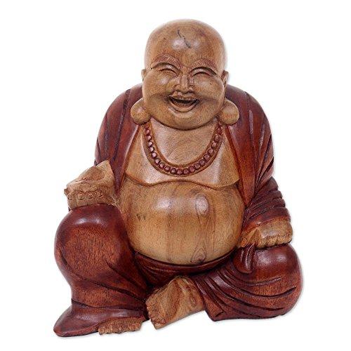 Statue Natural (NOVICA Hand Carved Natural Acacia Wood Buddha Sculpture, 8