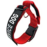 """GrayCell K9 Service Dog Collar, Adjustable Nylon Dog Collar with Reflective""""SERVICE DOG"""" Velcro Patches for Small Medium Large Dogs (L, Red)"""