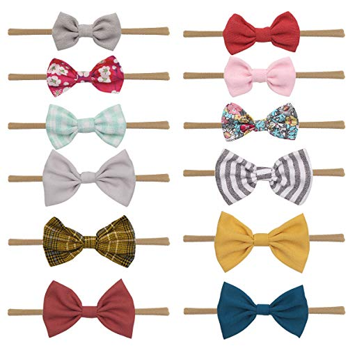 Baby Girl Headbands and Bows, Assorted 12 Pack of Hair Accessories for Girls (LRY-12PCS)