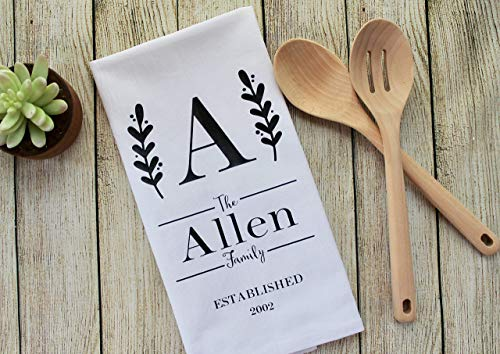 Custom Personalized Tea Towel with Initial & Family Name Keepsake Flour Sack Dish Towel Wedding Hostess Housewarming Gift