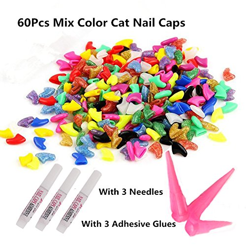 60pcs Soft Cat Pet Nail Caps Claw Control Paws off with Adhesive Glue Size XS S M L (M)