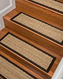 "Natural Area Rugs 100% Natural Fiber Beach, Seagrass Sage, Handmade Stair Treads Carpet Set of 13 (9""x29"") Espresso Border"
