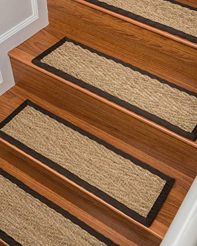 Natural Area Rugs 100% Natural Fiber Beach, Seagrass Sage, Handmade Stair Treads Carpet Set of 8 (9