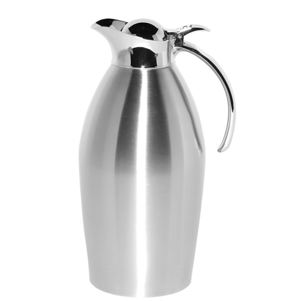 Service Ideas 98115BS Stainless Lined Vacuum Insulated Carafe with Stopper Lid, 1.5 Liter (50.7 oz.), Brushed Stainless/Mirrored Accents