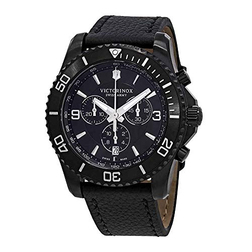 - Victorinox Men's Maverick Stainless Steel Swiss-Quartz Watch with Leather Strap, Black, 22 (Model: 241786)