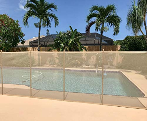 XtremepowerUS 4' x 12' feet Swimming Pool Fence See-Thru Pool Fence 4-Section Removable Child Safety Fence Barrier Pool, Beige