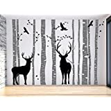 Large Deer Tree Wall Decal Large Tree Wall Sticker, Gray Birch Tree Wall Decal,Vinyl Family Tree Decal, Reindeer Tree Decal,Birch Tree Sticker Nursery decal for kids and living room