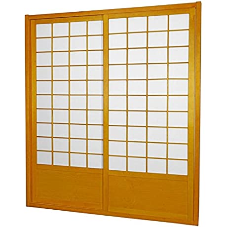 Oriental Furniture 7 Ft Tall Zen Shoji Sliding Door Kit Honey