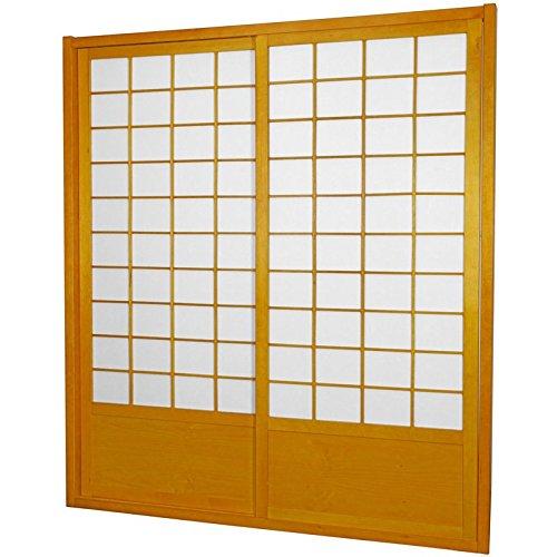 Japanese Shoji Doors - Oriental Furniture 7 ft. Tall Zen Shoji Sliding Door Kit (Double - Sided) - Honey