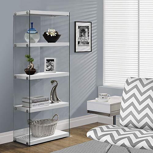 """Monarch specialties I 3289, Bookcase, Tempered Glass, Glossy White, 60""""H"""