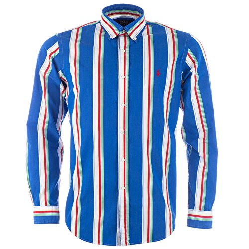 Ralph Lauren, Herrenhemd, Langarm, gestreift, blau-rot