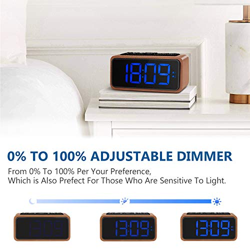 FM Radio Alarm Clock, Koosin Large LED Display Wood Digital Alarm Clock, Adjustable Brightness Dimmer and Snooze, Simple LED Clock with Dual Alarm, 12/24 Hour, Powered by AC Adapter (Blue)