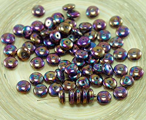 60pcs Metallic Iris Purple Czech Glass Disc Washer Beads Solo Flat Disk Spacer One Hole 6mm ()