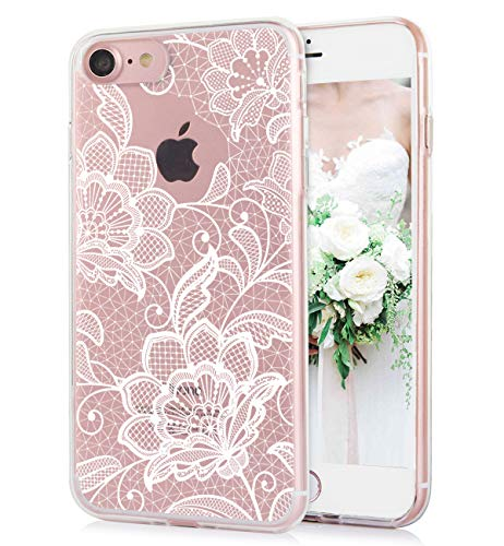 iPhone 8 iPhone 7 Case Cute Watercolor Floral Best White Lace Paisley Flowers Pattern Clear IMD Hybrid Hard TPU Back Cover Shockproof Protective Fun Phone Cases for Women Girls-[4.7