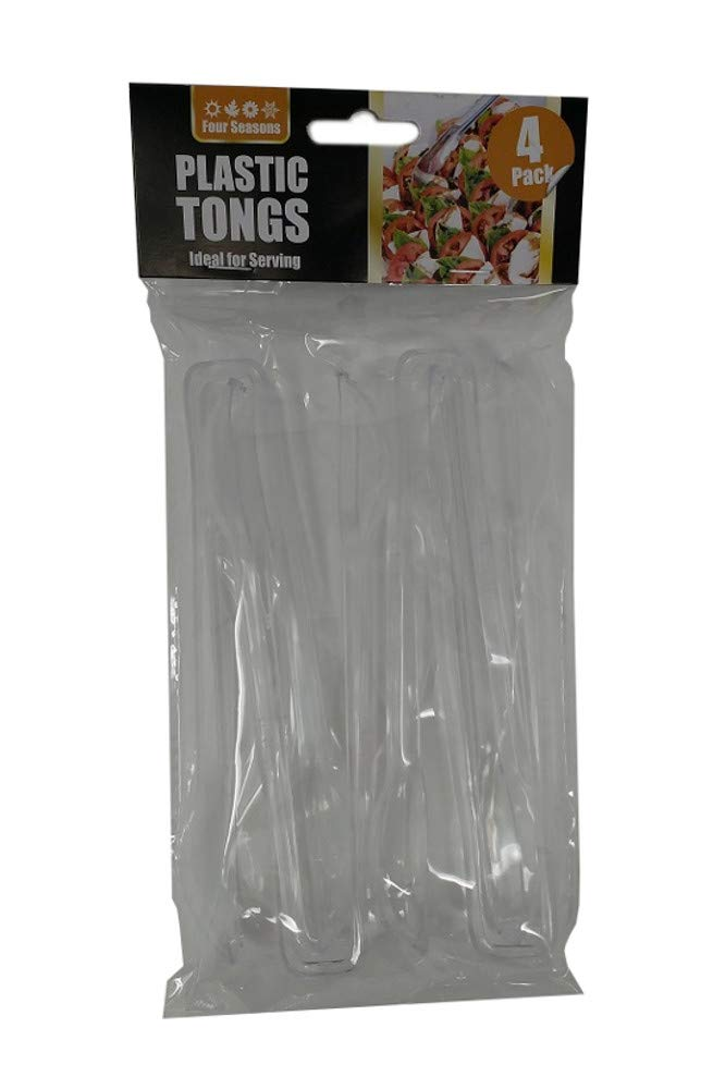 4 x Disposable Clear Plastic Serving Tongs - BBQ Party Buffet - Length 16cm GeneralStoresLtd