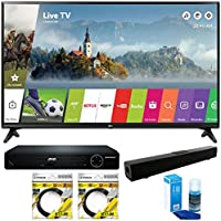 LG 49 Class Full HD 1080p Smart LED TV 2017 Model (49LJ5500) with Solo X3 Bluetooth Home Theater Sound Bar, High Definition DVD Player, 2x 6ft HDMI Cable & Screen Cleaner for LED TVs