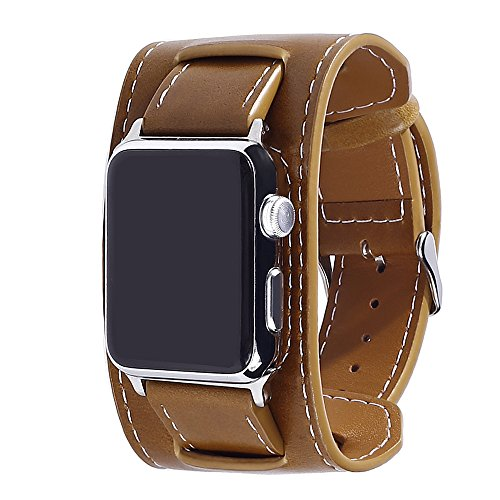 Apple Watch Band, Fullmosa Full-Grain Leather Cuff Band iWatch Replacement WristBand with Metal Clasp for iWatch Series1 Series2, All Editions, 42mm Brown (Grain Cuff)