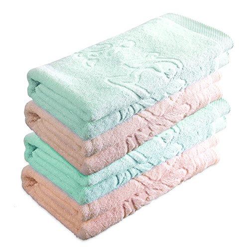 Oasis 4 Piece Hemp Cotton Luxury Bath Towel, 20% Hemp 80% Organic Cotton, Natural Soft Hemp Cotton - 2 Misty Rose and 2 Light Green