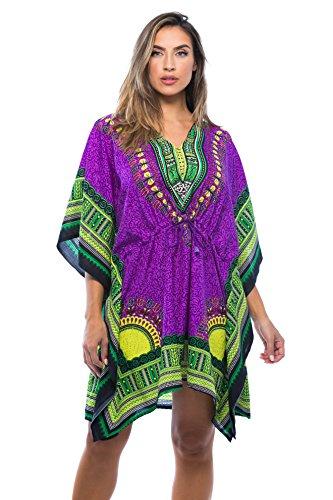 Riviera Sun 21753-PRP-L-XL Short Dashiki Caftan/Caftans for Women ()