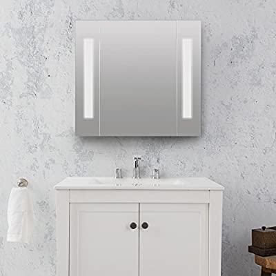 """MAYKKE Barryessa 26"""" x 24"""" Surface-Mount LED Stainless Steel Medicine Cabinet Multipurpose Swing Door Bathroom Storage DJA1040101 - Single door mirrored medicine cabinet with dual LEDs at 180 Lumens 2 Stainless steel shelves for spacious storage, creates 3 shelf spaces Modern style bathroom necessity - shelves-cabinets, bathroom-fixtures-hardware, bathroom - 5107cAhwFFL. SS400  -"""