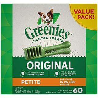 GREENIES Original Petite Natural Dog Dental Care Chews Oral Health Dog Treats, 36 oz. Pack (60 Treats)