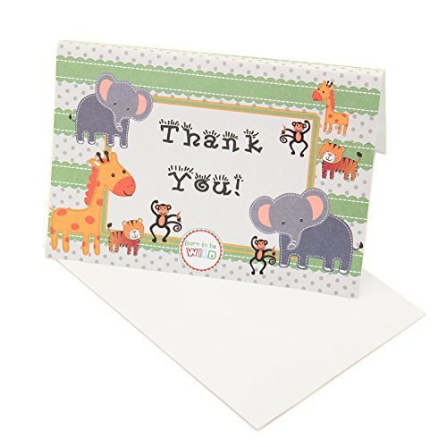 Adorox 24 Pieces Baby Jungle Zoo Animals THANK YOU Cards Baby Shower Birthday Party Safari Theme Boys Girls (Cards Birthday Baby Thank You)