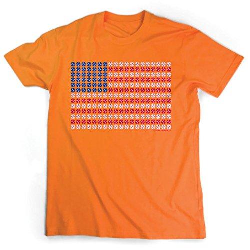 Baseball Jersey Orange Axl (Patriotic Baseball T-Shirt   Baseball Tees by ChalkTalkSPORTS   Orange   Adult X-Large)