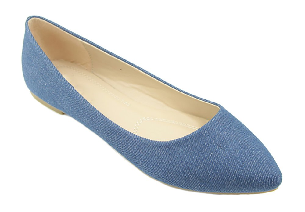 MVE Shoes Women's Classic Pointy Toe Flats, Blue Demin Size 10