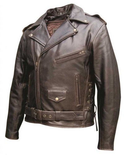 - Mens Basic Premium buffalo Retro Brown Leather Jacket w/Zipout Liner, Side Laces - AL-2023-48