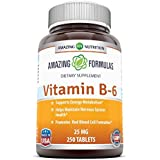 Amazing Formulas Vitamin B6 Dietary Supplement – 25 mg, 250 Tablets–Supports Healthy Nervous System, Metabolism &Cell Health